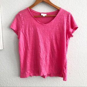 J. Jill Love Linen Pink V-Neck Tee Shirt Top